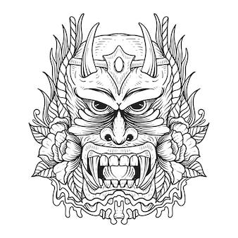 Tatoeage en t-shirt ontwerp zwart-wit oni masker japans premium vector