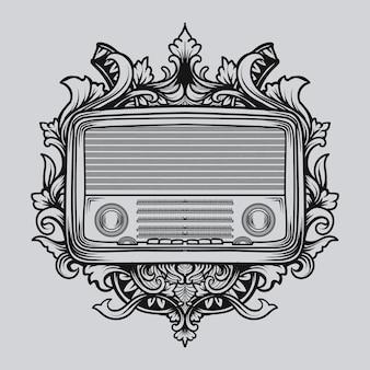 Tatoeage en t-shirt zwart-wit hand getrokken illustratie klassieke radio gravure ornament