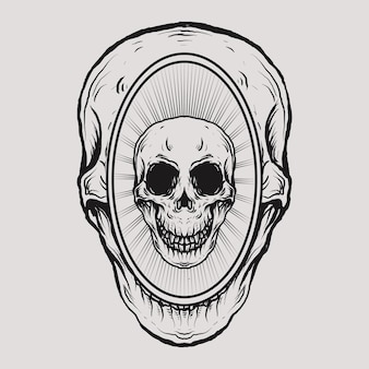Tatoeage en t-shirtontwerp schedel in schedel