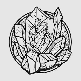 Tatoeage en t-shirtontwerp zwart-wit handgetekend hart in kristalsteen