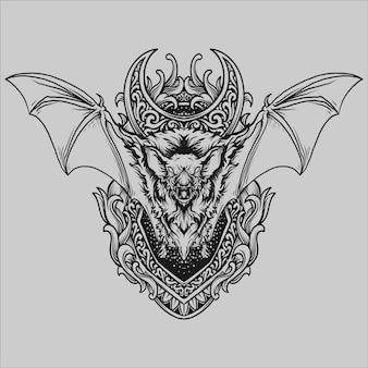 Tatoeage en t-shirtontwerp zwart-wit handgetekende vleermuisgravure ornament