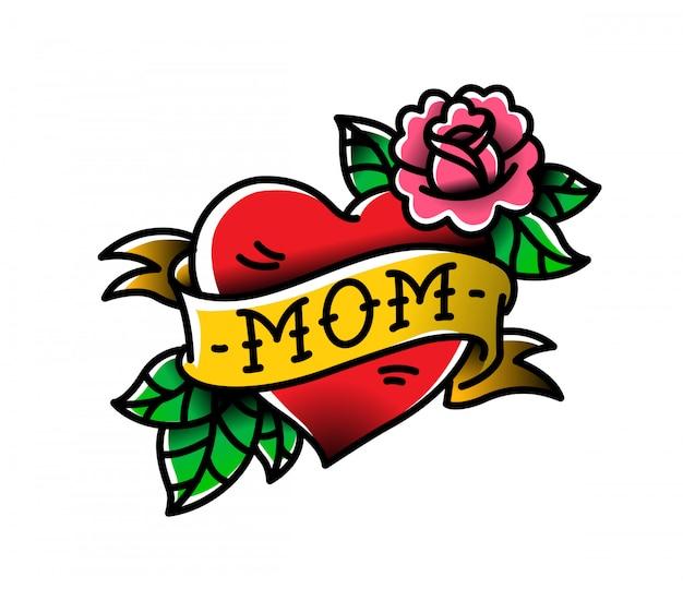 Tatoeage met de inscriptie van mam.