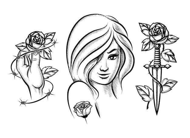 Tatoeages. schoonheid meisje, mes, roos en prikkeldraad. vrouwelijke zwarte mode. vector illustratie