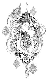 Tattoo art een vrouw thai dargon hand tekenen en schetsen