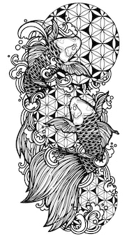 Tattoo art koi vissen hand tekenen en schetsen zwart-wit