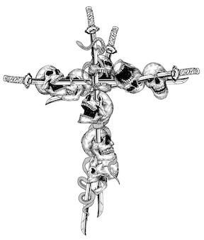 Tattoo art schedel en zwaard zwart kruis
