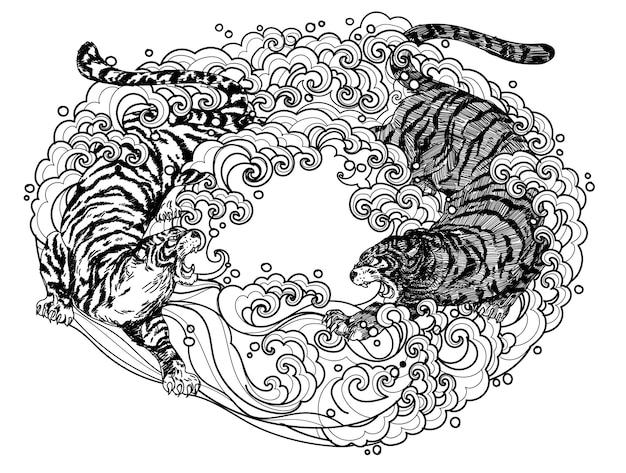 Tattoo art tijger vechten hand tekenen en schetsen zwart-wit