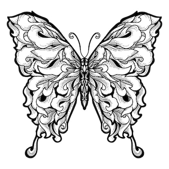 Tattoo en t-shirt ontwerp butterfly premium