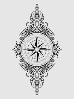 Tattoo en t-shirt ontwerp kompas graveren ornament