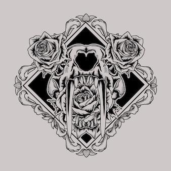 Tattoo en t-shirt ontwerp sabertooth tijgerschedel en roos in vierkant randkader premium
