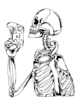 Tattoo en t-shirt ontwerp skelet gamers kant premium