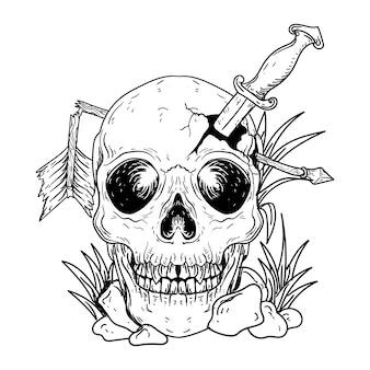 Tattoo en t-shirt ontwerp zwart-wit hand getekende illustratie menselijke schedel met pijl en mes