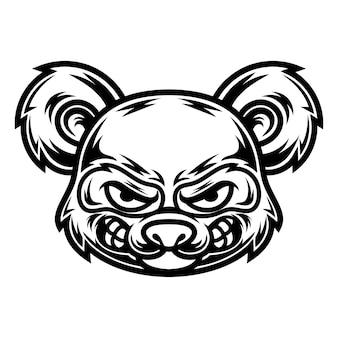 Tattoo en t-shirt ontwerp zwart-wit panda illustratie