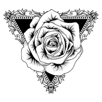 Tattoo en tshirt design artwork zwart-witte driehoek en roos premium