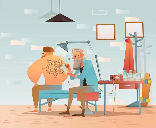 Tattoo hipster karakter in kapperszaak salon illustratie
