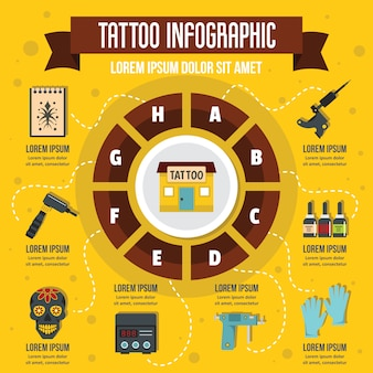 Tattoo infographic, vlakke stijl