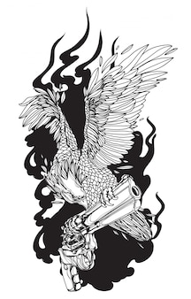 Tattoo kunst adelaar op pistool hand tekenen