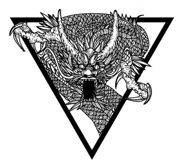 Tattoo kunst dargon hand tekening en schets zwart en wit
