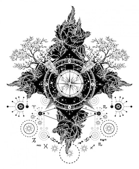 Tattoo kunst. kompas, gekruiste pijlen, rozen