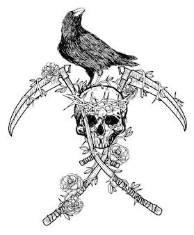 Tattoo kunst kraai draagt een kroon op een schedel