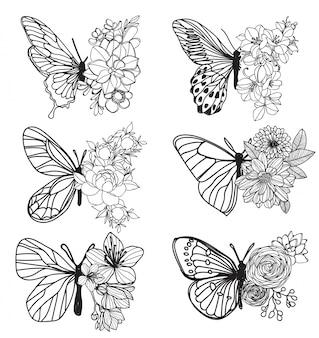 Tattoo kunst vlinder hand tekenen en schets met lijn kunst illustratie