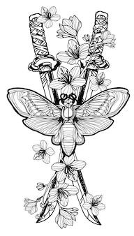Tattoo kunst vlinder op japanse zwaard bloem