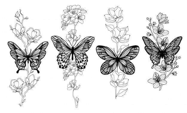 Tattoo kunst vlinder schets zwart en wit