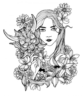 Tattoo kunst vrouwen masker en bloem hand tekenen