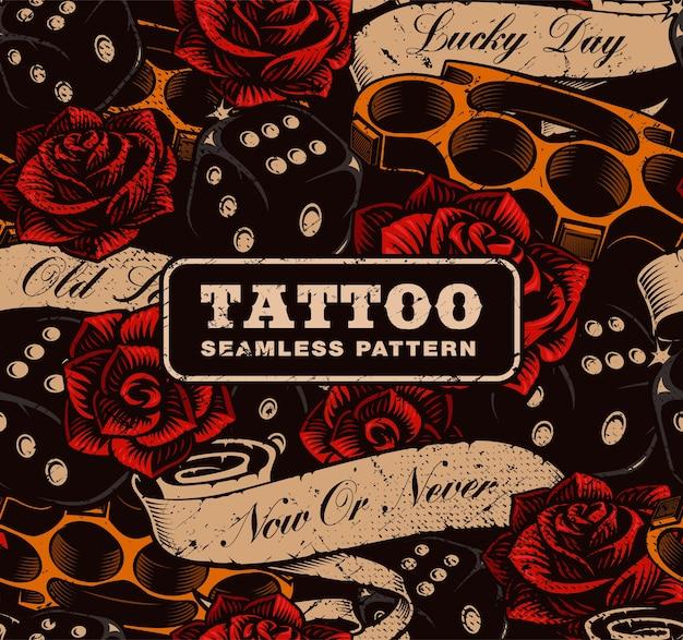 Tattoo naadloze achtergrond. vintage achtergrond met rozen, dobbelstenen en boksbeugels.