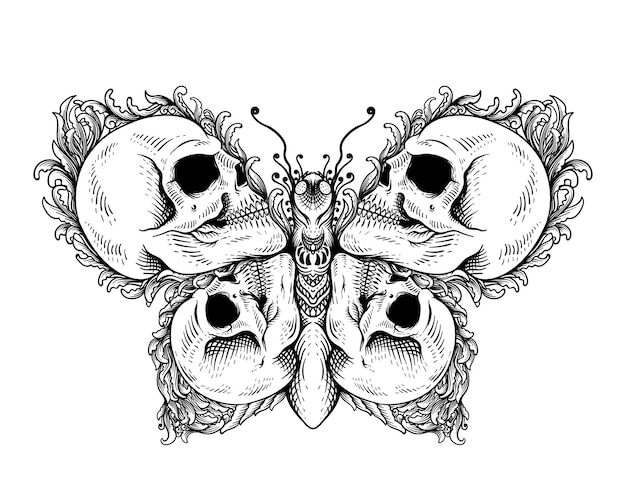 Tattoo ontwerp schedel met vlinder zwart-wit ornament stijl