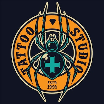 Tattoo salon kleurrijke ronde label