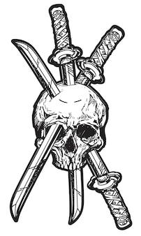 Tattoo schedel en zwaard
