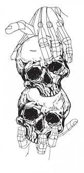 Tattoo schedel in de hand