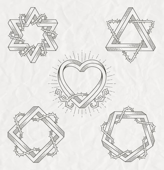 Tattoo stijl lijntekeningen symbolen met onmogelijke vorm met doornen takken - set
