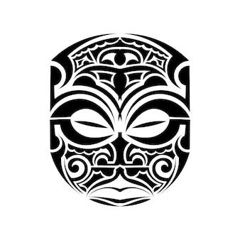 Tattoo stijl masker geïsoleerd op een witte achtergrond.