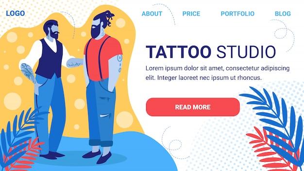 Tattoo studio horizontale banner. bebaarde hipster