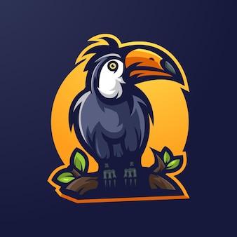 Taucan mascotte logo ontwerp vector met moderne illustratie concept stijl voor badge, embleem en t-shirt afdrukken. vogelillustratie-logo voor community, team, sport en gaming Premium Vector
