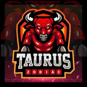 Taurus dierenriem mascotte esport logo ontwerp