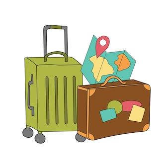 Tavel meer. creatieve vectorillustratie - koffer. handgetekend concept voor thuisposter, wenskaart, kleding, flyer, inham, banner, embleem