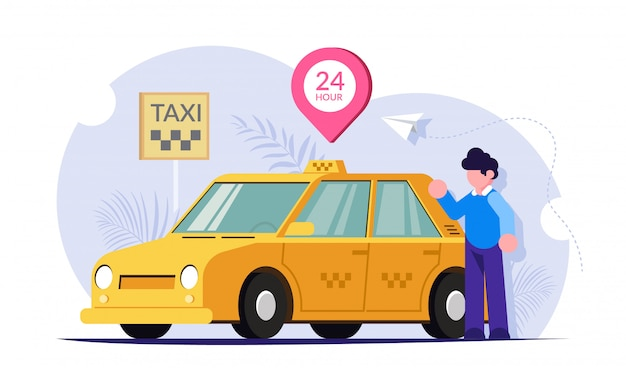Taxi 24 uur per dag online. de chauffeur of klant bij de gele auto. 24-uurs service werkt.