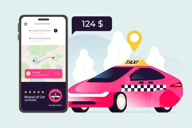 Taxi app concept geïllustreerd