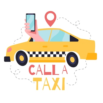 Taxi app concept illustratie met taxi en hand