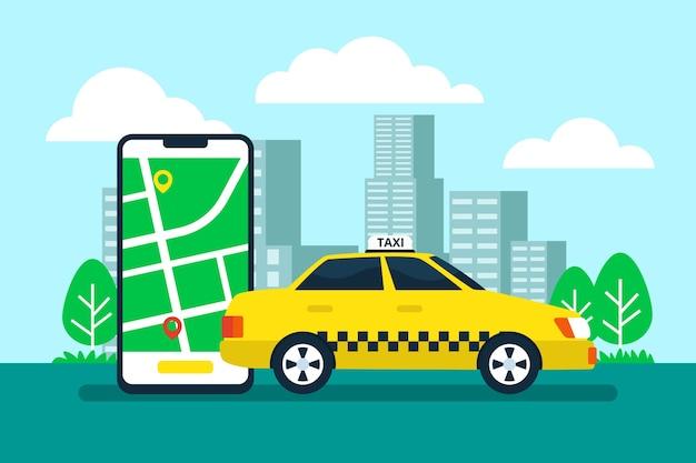 Taxi app concept met mobiele telefoon en stad