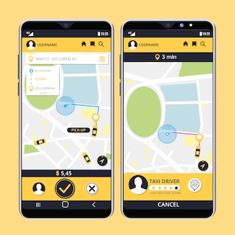 Taxi app-interface collectie