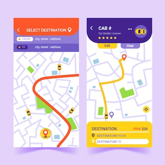 Taxi app-interface sjabloon