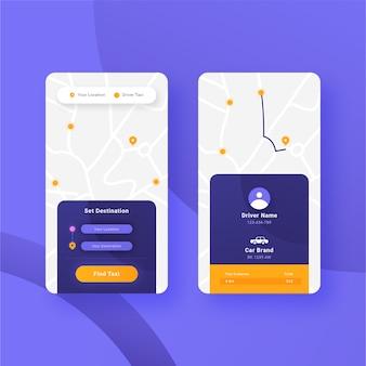 Taxi app-interface sjabloonontwerp
