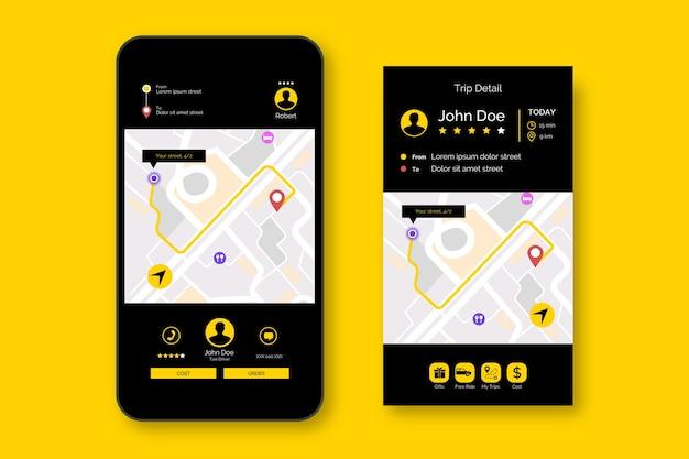 Taxi app-interface sjabloonstijl