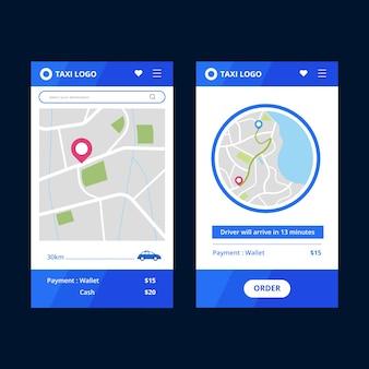 Taxi app interface stijl