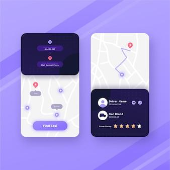 Taxi app-interface stijl
