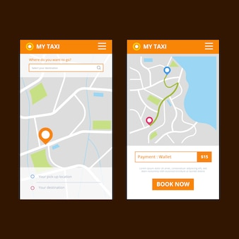 Taxi app interface thema